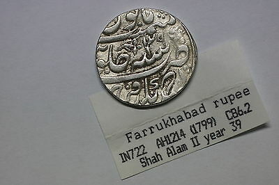 India Farrukhabad Silver Rupee 1799 Silver Nice Details A60 #k3567