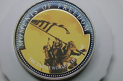 LIBERIA 10 DOLLARS CuNi MOMENTS - 2001 RAISING THE FLAG END WWII A60 #1364