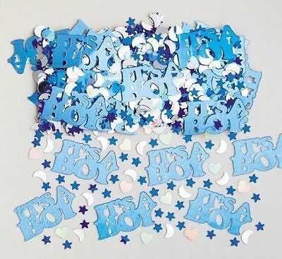 Baby Shower - Blue Its a Boy Party Decorations - Foil Table Confetti - 14g Bag