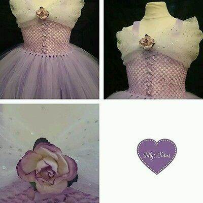 Lilac+white tulle tutu dress, flower girl, Princess, fairy tale, party.