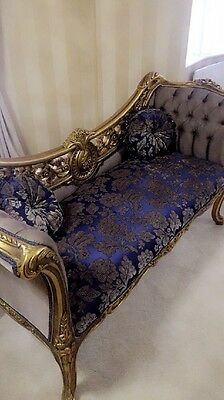 NEW Purple Blue Damask Chaise Longue - Louis xv French Shabby Chic Royal Lounge