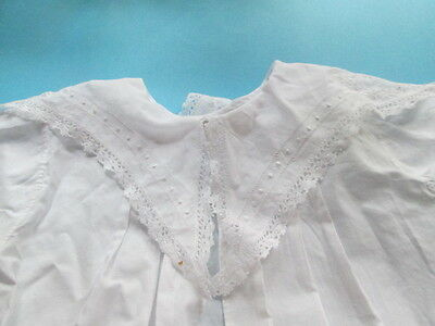 Antique Victorian hand embroidered Baby dress,from white linen/France