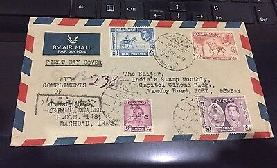 Iraq 1949 Scare Cover Went To India 4 V Stamps On Cvr Baghdad Post Mark