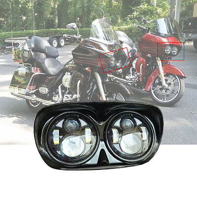 Dual LED Headlight 5.75'' inch Projector Daymaker Lamp For Harley Road Glide