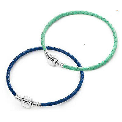 Light Green OR Blue 925 Solid Sterling Silver Single Leather Bracelet for Beads