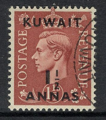 KUWAIT SG66 1948 1½a on 1½d PALE RED-BROWN FINE USED