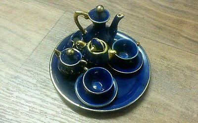 limoges blue and gold  plate teacup set with sugar creamer and jugs