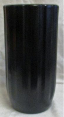 "Large 12"" Art Deco Athens 23 Made in England Black Ribbed Vase"