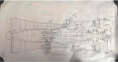 "¼ Scale Very Large 1m (39"") wide Rolls-Royce Concorde Olympus 593-610 Drawing"