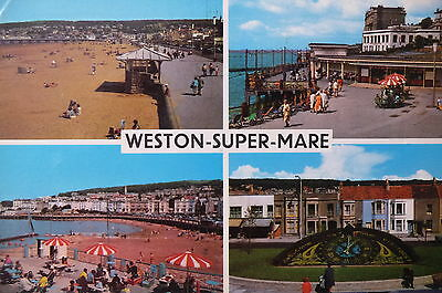 1970's VINTAGE POSTCARD - GREETINGS FROM WESTON-SUPER-MARE
