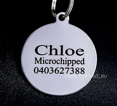 Stainless Steel Circle Round Pet Tag Free Engraving Personalised Custom ID Dog