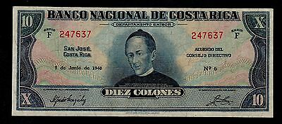 COSTA RICA  10 COLONES 1940 PICK # 205a  VF.
