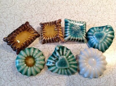 Vintage style brooches pottery chocolate sweets heart flower Ruskin arts crafts