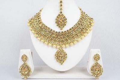 Indian Bollywood Bridal Gold Tone Necklace Earrings Set Ethnic Fashion Jewelry
