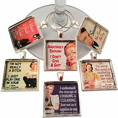 Funny Housewife Women Wine Glass Charms - Wine Tags - Set of 6 Wine Charms