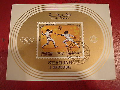 Sharjah - 1972 Olympics - Fencing - Minisheet - Unmounted Used - Ex. Condition