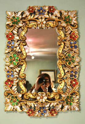 Beautiful Mirror Bordered with Precious Stones 71 x 46 cm