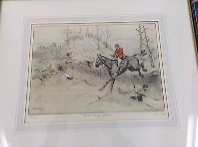 Sporting print Tom Carr, pencil signed, original print (Hold, Hard, Please).