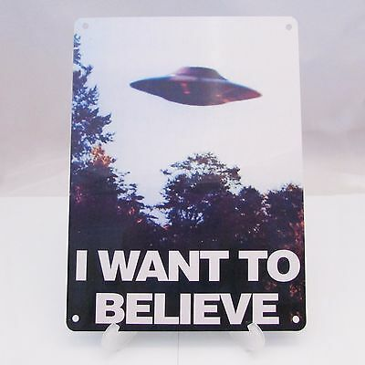 THE X FILES I WANT TO BELIEVE poster on a METAL SIGN PLAQUE UFO ART MOVIE A5