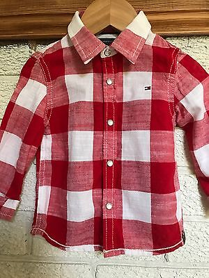 Baby Boys Tommy Hilfiger Red/White Big Check Shirt Excellent Condition 9-12m