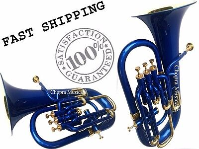 Christmas Sale Euphonium Colored Blue Bb FLAT 4 Valve M/ Piece & Bag Free