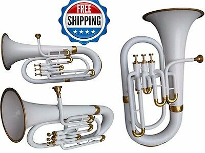 Christmas Sale Euphonium Colored White Bb FLAT 3 Valve M/ Piece & Bag Free