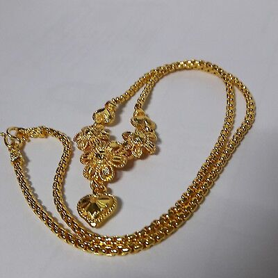 "New Necklace  24 k Yellow Gold Plated Women Size 18.0"" Floral Thailand"