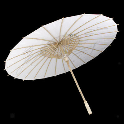 "Wedding Paper Parasol Umbrella Handle Bridal White Leterring ""Thank you"""