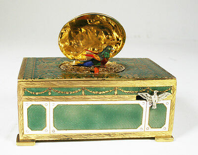 Fully Enameled Decorative Singing Bird Box Music Box Automaton