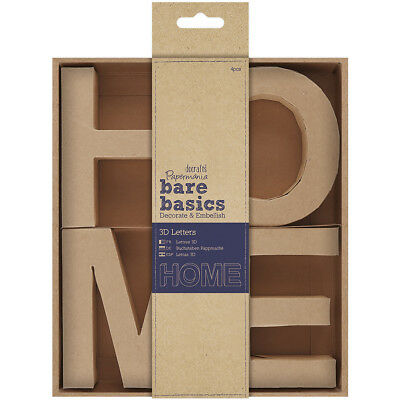 "Papermania Bare Basics Kraft Chipboard 4"" 3D Letters 4/Pkg HOME PM174071"