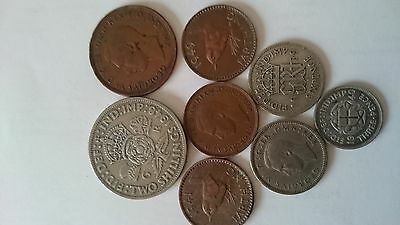 8 mixed George VI coins -some silver -  circulated and uncleaned