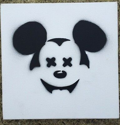 Dismaland Banksy Exhibit WSM15 Dead Mickey Mouse Spray Paint On Canvas Signed