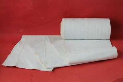 Antique Hand Loom Woven Homespun White Linen Fabric.roll Aboult More 6 Yards .