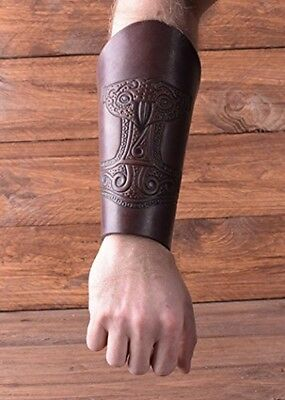 Leather Cuff Bracer Arm embossed Antique Brown Sleeve Medieval Viking Guard Thor