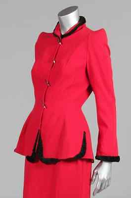 THIERRY MUGLER VNTG red wool and astrakhan suit,80s,blue label_38_UK10_US 6_MINT