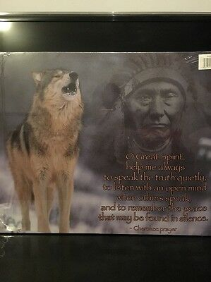 Canvas Picture With Wolf and Indian
