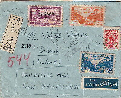 Lettre Beyrouth Lebanon Registered pour Finlande Cover