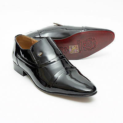 Mens Black Patent Lucini Leather Smart Wedding Slip On Shoes,Low Heel 6-11 33450