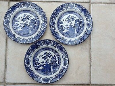 """3- 7"""" Old Willow Pattern Plates By Englishironside Pottery College Road ,Stoke."""