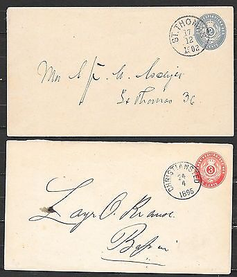 Danish West Indies covers 1895/1902 imprinted covers St.Thomas/Christiansted