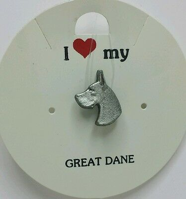 I Love My_ Great Dane _ Dog Pin _ Rawcliffe Pewter 1983