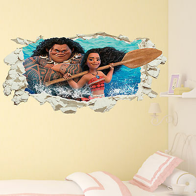 Moana in Wall Crack Maui Decal Kids Girls Boys Bedroom Art Sticker Gift New