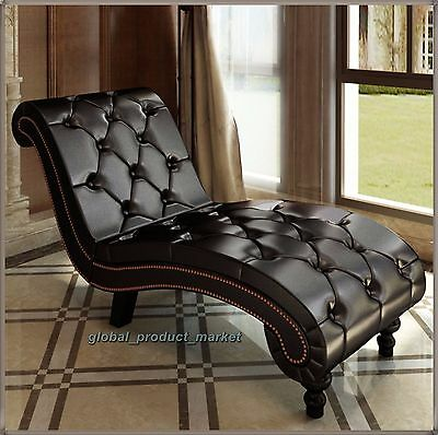 Chaise Longue Sofa Relax Button Tufted Chair Vintage Home Furniture Comfort Seat