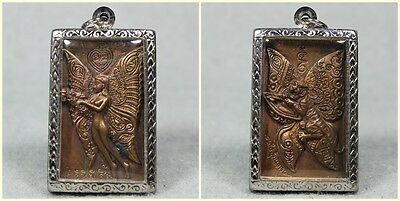 Butterfly Lady and Tiger LP PIN Wat Nongaset Erotic Charm Sex Buddha Thai Amulet