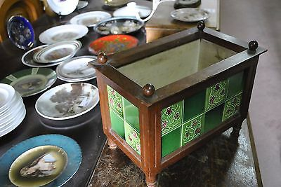 Flower Box Jardiniere Made of Oak Wood With ceramic Tiles Antique