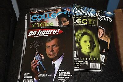 Lot of 4 X-Files Collector's magazines Figures Cards CCG