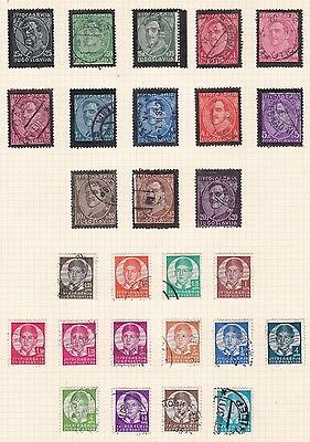Yugoslavia 1934 - 37      2Pages  Various Values Part Set  20D  Mh  & Used