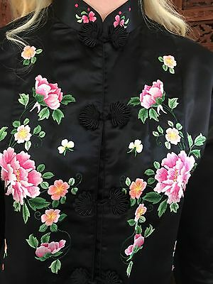 Vintage Chinese Hand Embroidered Silk & Rayon Jacket w Flowers By  Red Clouds