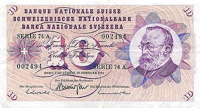 Switzerland 10  Francs  10.2.1971  Series  74 A  Circulated Banknote jE14J