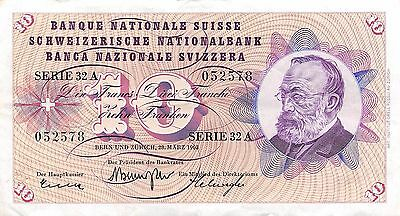 Switzerland 10  Francs  28.3.1963  Series  23 A  Circulated Banknote jE14J